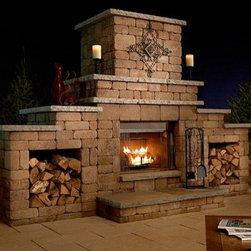 Grand Stone Outdoor Fireplace Kit - The Grand Stone Outdoor Fireplace Kit comes with pre-cut concrete blocks and steel reinforcements so all you need to do is piece it all together. -Mantels Direct