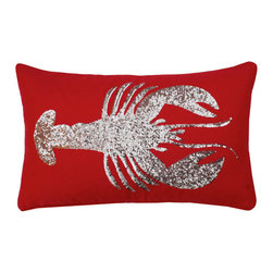 Thro - Lobster Sequin 12x20-inch Throw Pillow (Red or White) - Faux Linen fabric, spot clean.