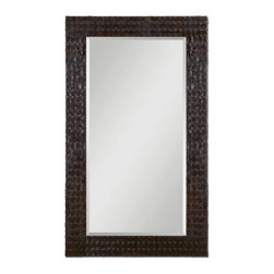 "Uttermost - Ballinger Dark Mocha Brown Rectangular Mirror - Frame features woven straps of faux leather finished in a dark mocha brown. Mirror has a generous 1 1/4"" bevel."