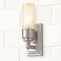 "Sussex Tube Sconce, Single, Set of 2, Satin Nickel finish - Our Sussex Tube Sconce has a versatile design that suits baths of all styles. It has a thick frosted-glass shade. 4"" wide x 4.5"" deep x 13"" high Crafted of forged and stamped brass. Thick frosted-glass shade. Hardwire; professional installation recommended. UL-listed. View our {{link path='pages/popups/fb-bath.html' class='popup' width='480' height='300'}}Furniture Brochure{{/link}}. Catalog / Internet Only."