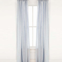 Corsica Linen Window Panels - 48 x 90 - A ruffled top above their gather mirrors the smooth cascades of cloth below the rod on which you place the Corsica Linen Window Panels.  Made from a variegated sky blue fabric which, unlike many other pure linen textiles, can be machine-washed, these drapes connote ease and imagination in your d�cor, complementing your theme with a deliciously timeless color.
