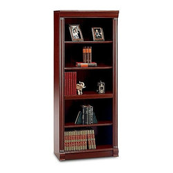 Bush - 5-Shelf Bookcase in Harvest Cherry - Birmingh - A cherry finish gives the Birmingham bookcase a professional edge. It's designed for living areas, offices and libraries. Front columns at the sides are decorative with top and bottom ridged embellishments. Two of the five shelves are adjustable for taller objects. * Adds generous storage capabilities. Three adjustable shelves for flexible storage. Two fixed shelves for stability. 30 in. W x 14 in. D x 71.5 in. H