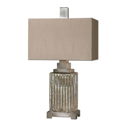 Uttermost - Uttermost 26289-1 Canino Mercury Glass Table Lamp - Uttermost 26289-1 Canino Mercury Glass Table LampRibbed mercury glass with brushed aluminum accents. The rectangle hardback shade is a silken bronze linen fabric with natural slubbing.Uttermost 26289-1 Features: