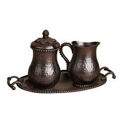 "12.25""L Copper Cream/Sugar Set - Cream and Sugar Set - Antique Copper, 6.75"" x 6.25"" x 12.25"""