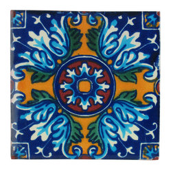Mexican Artisans - Yellow Cross Talavera Tiles, Box of 15 - Spanish in origin and hand-crafted in Mexico, Talavera tiles are renowned for their color, pattern and texture. This particular design makes a bold and brilliant way to bring out the blue or yellow in your bathroom, kitchen, even outdoors.