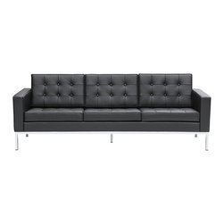 Lemoderno - Fine Mod Imports  Button Sofa in Leather, Black - A modernist fan's dream, Ultra modern and made with soft genuine leather all over     Assembled