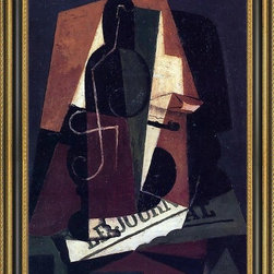 """Art MegaMart - Juan Gris Bottle and Glass - 16"""" x 24"""" Framed Premium Canvas Print - 16"""" x 24"""" Juan Gris Bottle and Glass framed premium canvas print reproduced to meet museum quality standards. Our Museum quality canvas prints are produced using high-precision print technology for a more accurate reproduction printed on high quality canvas with fade-resistant, archival inks. Our progressive business model allows us to offer works of art to you at the best wholesale pricing, significantly less than art gallery prices, affordable to all. This artwork is hand stretched onto wooden stretcher bars, then mounted into our 3 3/4"""" wide gold finish frame with black panel by one of our expert framers. Our framed canvas print comes with hardware, ready to hang on your wall.  We present a comprehensive collection of exceptional canvas art reproductions by Juan Gris."""