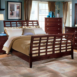 "Wholesale Interiors - Baxton Studio Barton Slat Bed - A good night's sleep is within your reach! The sleigh bed is a particularly elegant fusion of traditional and contemporary style. A box spring and mattress are required (not included with purchase). To clean, dust with a dry cloth. Features: -Solid rubberwood.-Requires box spring and mattress (not included).-Side rail: 6.75"" H x 84"" W x 1.75"" D.-Height to top of slat: 10"".-Height of legs: 9"".-King headboard: 49.25"" H x 79.375"" Wx 1.375"" D.-King footboard: 35"" H x 79.375"" W x 1.375"" D.-Queen headboard: 49.25"" H x 63.5"" Wx 1.375"" D.-Queen footboard: 35"" H x 63.5"" W x 1.375"" D.-Features:Dark Brown finish.-Baxton Studio collection.-Distressed: No.-Collection: Baxton Studio.-Powder Coated Finish: No.-Gloss Finish: No.-Finish: Brown.-Frame Material: Wood.-Upholstered: No.-Number of Items Included: 1.-Mattress Included: No.-Box Spring Required: Yes -Boxspring Included: No..-Headboard Storage: No.-Footboard Storage: No.-Underbed Storage: No.-Slats Required: No.-Adjustable Footboard Height: No.-Wingback: No.-Attached Nightstand: No.-Cable Management: No.-Built in Outlets: No.-Lighted Headboard: No.-Recycled Content: No.-Canopy Frame: No.-Hidden Storage: No.-Swatch Available: No.-Commercial Use: No.-Product Care: Dust clean with a dry cloth.Specifications: -FSC Certified: No.-EPP Compliant: No.-CPSIA or CPSC Compliant: No.-CARB Compliant: No.-JPMA Certified: No.-ASTM Certified: No.-ISTA 3A Certified: No.-PEFC Certified: No.-Green Guard Certified : No.Dimensions: -Queen bed dimensions: 49.25"" H x 63.56"" W x 94.25"" D.-King bed dimensions: 49.25"" H x 79.375"" W x 94.25"" D.-Overall Height - Top to Bottom (Size: King): 49.25"".-Overall Width - Side to Side (Size: King): 79.4"".-Overall Depth - Front to Back (Size: King): 94.25"".-Headboard Dimensions Height (Size: King): 49.25"".-Headboard Width Side to Side (Size: King): 79.4"".-Headboard Depth Front to Back (Size: King): 1.375"".-Footboard Height (Size: King): 35"".-Footboard Width - Side to Side (Size: King): 79.4"".-Footboard Depth - Front to Back (Size: King): 1.375"".-Overall Height - Top to Bottom (Size: Queen): 49.25"".-Overall Width - Side to Side (Size: Queen): 63.56"".-Overall Depth - Front to Back (Size: Queen): 94.25"".-Headboard Dimensions Height (Size: Queen): 49.25"".-Headboard Width Side to Side (Size: Queen): 63.56"".-Headboard Depth Front to Back (Size: Queen): 1.375"".-Footboard Height (Size: Queen): 35"".-Footboard Width - Side to Side (Size: Queen): 63.56"".-Footboard Depth - Front to Back (Size: Queen): 1.375"".Assembly: -Assembly Required: Yes.-Tools Needed: Screwdriver.-Additional Parts Required: No."
