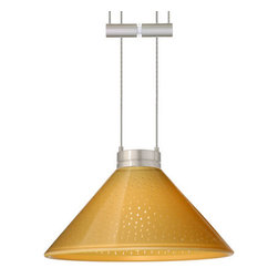 Besa Lighting - Besa Lighting 1XA-282490 Kona 1 Light Halogen Cable-Hung Pendant - The Kona pendant features a wide cone-shaped glass, that demonstrates contemporary sensiblities. Our Mango Starpoint glass is pressed glass that features small points of clear that project from the mango outer and white inner finish, creating a star-light effect. When lit the glass is vitalizing as well as stylish. The gleaming color can accent any modern or classic decor. This handcrafted glass uses a process where every glass is consistently produced using a press mold, keeping variations to a minimum. The 12V adjustable pendant fixture is equipped with 8' of bare silver-color braided cable, spring-loaded cable adjuster, quick connect jack and low profile flat monopoint canopy.Features:
