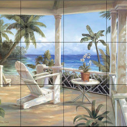 The Tile Mural Store (USA) - Tile Mural - Tropical Porch I - Kitchen Backsplash Ideas - This beautiful artwork by Vivian Flasch has been digitally reproduced for tiles and depicts an Adirondack chair waiting for you in the shelter of a gazebo. Can't you just imagine yourself resting by the ocean in this beautiful tropical setting of a calm blue sea and palm trees.  Beach scene tile murals are great as part of your kitchen backsplash tile project or your tub and shower surround bathroom tile project. Waterview images on tiles such as tiles with beach scenes and sunset scenes on tiles.  Tropical tile scenes add a unique element to your tiling project and are a great kitchen backsplash  or bathroom idea. Use one or two of our beach scene tile murals for a wall tile project in any room in your home for your wall tile project.