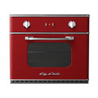 "Big Chill - Big Chill Electric Wall Oven 30 in. wide - Cherry Red - The Big Chill Cherry Red Wall Oven truly is a Modern Made Classic. Vintage inspired style meets modern performance with the electric wall mounted oven. Easily installed into your kitchen, the space-saving red Wall Oven is electric, and ideal for condo living and small kitchens. The red Wall Oven saves on kitchen space but is large enough to fit a commercial 18"" x 26"" baking sheet. The performance oven has a 5000 watt broil element, removable racks for easy cleaning, and precision convection cooking. This modern spin on a vintage classic is every cooks dream."