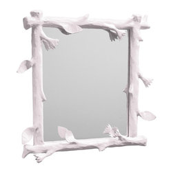 """Faux Bois Mirror - Stray Dog Designs is a wonderful company known for their use of eco-friendly recycled materials and fun color choices. This papier mache faux bois mirror is one of my favorites from their collection. It's statement-making without being over the top, and I think it's especially lovely in this pale violet.Dimensions: 28"""" x 28"""". Handmade by Haitian artisans from recycled materials. Low VOC paint."""