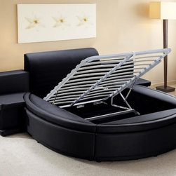 Luxurious Bedroom Collection - BUYS- OWEN Contemporary Black Leather Round Bed With Storage And Built In Nightstands