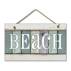Handcrafted Nautical Decor - Wooden Beach Party Sign 10'' - Our  Wooden Beach Party Sign 10'' is the perfect choice to display  your affinity for decorating a beach house. Place this sign in a beach  kitchen, use as a coastal decorating idea, or hang this up as part of  your beach bedroom decor. Given all the options, one thing is for  certain, you are sure to inject the beach lifestyle into your humble  abode.------    Easily mountable to hang outside or inside--    Made from high quality woods--    Sign says ''Beach'and displays fun nautical colors--    --