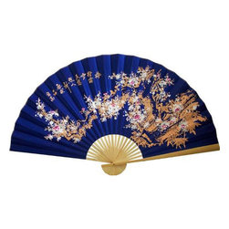 Oriental-Decor - Sakura Blossoms on Electric Blue Chinese Wall Fan - This Sakura Blossoms on Electric Blue can easily become your most beloved art piece especially if you're the type who is not afraid to show off sense of style. Streams of gorgeous sakura blossoms in red, white and pink colors are seen dancing across a bright blue setting. This Oriental handicraft is full of wonderful and interesting contradictions. It makes a great addition for those who are looking for eye-catching centerpieces that are meaningful, but at the same will not break the bank. Sakura blossoms are cherry blooms that are revered as Japans national flower. They symbolize female sexuality, beauty and dominance. But this home accessory is not just for the lady of the house. With its lively blue color, this Sakura Blossoms on Electric Blue wall fan will suit those who need to inject some masculine factor into any home or office space. Dark blue tones are actually the chosen color for corporate America as the tones convey power and seriousness.
