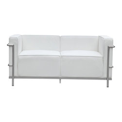 Lemoderno - Fine Mod Imports  Grand Lc3 Loveseat, White - Grand Lc3 Loveseat is covered in genuine leather on front, sides, back and cushions. Chair has a polished stainless steel frame.     Assembled
