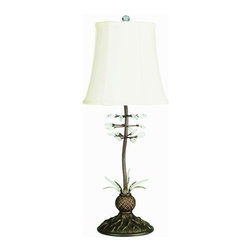 """Lite Source - Lite Source C457 Crystal Accent Table Lamp Pickering Collection - Table LampLeaf shaped beads and cut crystals adorn the antique bronze stems which flow through the body of the lamp. An off-white fabric shade coordinates the entire piece.100W Incandescent A Type Bulb(Bulb Not Included)E-27 Socket (Medium Base)3-Way SwitchShade Dimensions: 8""""T x 12""""B x 11""""SL"""