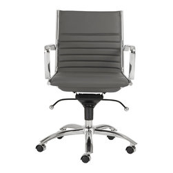 Eurostyle - Dirk Low Back Office Chair-Gray/Chrome - Leatherette over foam seat and back