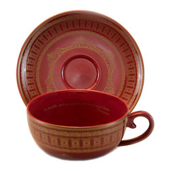 """Everybody's Ayurveda - Porcelain Tea Cup and Saucer in Red with Gold - 4 Pieces - Teaveda """"Namaste"""" Red & Gold Tea Cup and Saucer. Porcelain. Made in China."""