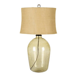 Amber Glass Arts And Craft Jar Lamp - Features: