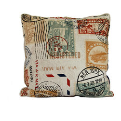 """Travel postage mail stamp throw pillow decorative cushion cover 20"""" - A travel postage stamp pillow cover. This 20"""" x 20"""" decorative cushion cover is made from decorator fabric."""