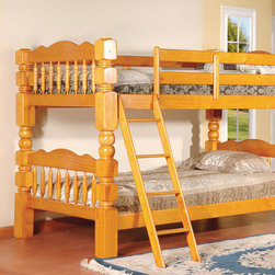 None - Carved Spindle Honey Oak Finish Bunk Bed - Update a children's room with this bunk bed with stairs. Featuring a stunning spindle detail on the solid wood frame,this bunk bed includes a safety rail for the top bunk and a safety ladder. This bunk can easily separate to two beds.