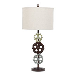 """Signature Design by Ashley - 31"""" Set of 2 Rachina 3 Gears Table Lamps - A set of two modern gear inspired table lamps from Famous Brand Lighting"""