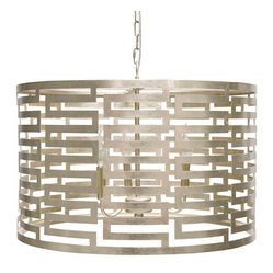 worlds away - Worlds Away Nova Silver-Leafed Pendant Lamp - Relish the Greek key motif on this stunning silver-leafed pendant lamp. A midcentury modern masterpiece, the carousel quality of the circular shade adds a whimsical character to this sophisticated lighting source. Hang one from your ceiling or beam and marvel at the light patterns it creates.