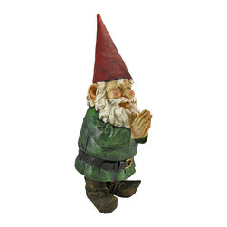 32 Inch Tall Garden Gnome Greeter Statue Figure - This extra large, super-cute garden gnome is the perfect accent to welcome guests to the entrance of your garden or flower beds. Made of cold cast resin, this peaceful gnome stands 32 inches tall, 11 inches wide and 13 1/2 inches deep. He`s hand-painted, and shows great detail. If you love garden gnomes, this is a must-have!