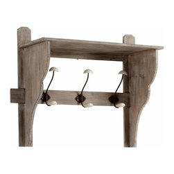 Rustic Washed Oak Three Arm Coat Hook Shelf - *Frisco Three Arm Coat Hook