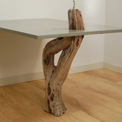 "Concrete & Driftwood Table - Glass Fiber Reinforced Concrete, Natural Grey, Top: 36"" x 54"",  Satin Finish"