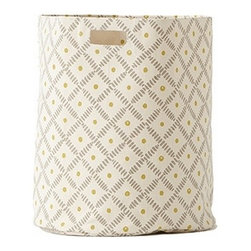 Pehr Grey/Citron Weave Canvas Storage Hamper - This whimsical hamper in squiggly grey and citron yellow horizontal lines print is unique and durable. Made from 100% Heavy weight cotton canvas and machine washable. Just one of many prints to choose from, the Petite Pehr Alphabet Hamper will fit perfectly into your child's room.