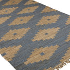 Asmae 5 X 8 Rug - Blue - Natural Hemp And Denim Blue
