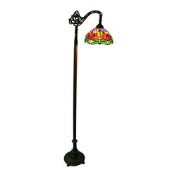 Warehouse of Tiffany - Warehouse of Tiffany Red Dragonfly Reading Lamp - Upgrade your home decor with this Tiffany-style reading lamp. This colorful lamp requires one 60-watt light bulb and turns on using a foot switch. Place this light next to your favorite lounge chair and enjoy reading your favorite book or magazine.