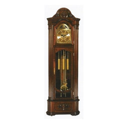 "ACMACM01417 - Cherry Finish Wood Corner Grandfather Clock - Cherry finish wood corner grandfather clock, pendulum swings and chimes on the half hour and hour. Some assembly required, measures 26"" x 10"" x 81"" H"