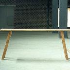European vintage industrial furniture - Large wooden table no. 12