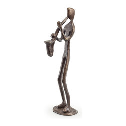 Danya B. - Saxophone Player Bronze Sculpture - This elegant cast bronze sculpture of a saxophone player will delight you with its composition. Elegant, artistic and contemporary in feel and design. Handcrafted and casted using the sand casting method. For the music lover. Great collector's item.
