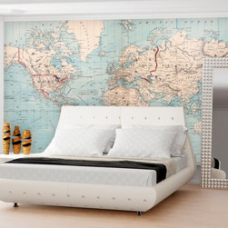 Swag Paper - Swag Paper World Map 1876 Shipping Routes Self-Adhesive Wallpaper Multicolor - M - Shop for Wallpaper from Hayneedle.com! Rich in history and detail the Swag Paper World Map 1876 Shipping Routes Self-Adhesive Wallpaper is an impressive way to transform any space. This is a detailed reproduction of the Map of the World on Mercator's Projection that was authored by J.B. Beers and Company and H.W. Burgett and Company in 1876. Dramatic in its scale and authenticity this map brings distinguished design home. It comes in your choice of available wallpaper panel sizes.The 1876 World Map with shipping routes was designed to make the hearts of renters history buffs and do-it-yourselfers swoon. It has an easy peel-and-stick design that is repositionable removable and crinkle-free. It applies easily over clean primed or painted walls as well as flat surfaces and furniture. Finally you can now have that custom map wall of your dreams.The Tools You'll Need:Tape measureSpongeStraight edgeLevel (optional)Utility knife or razor bladePlastic smoother (a credit card also works)Step stool or ladderEasy Installation Instructions:Measure the width of your wall in feetDivided the width by 2 to find the number of panels you'll needPeel backing by about 8 to 12 inches and apply to wallSmooth overKeep pulling the backing away in 8- to 12-inch incrementsTrim off the excess materialOverlap panels by 1 inch to match patternsCreate a butt seam by cutting the top overlapping layer of wallpaper removing it and smoothing overSwag Paper - Empowering the Do-It-Yourselfer:Forget the paste the crinkles and cutting rolls of wallpaper to make the patterns match. Dave and Daniela Fields a brother-and-sister team developed Swag Paper for Do-It-Yourselfers with high aspirations and little time. Their adhesive-backed panels apply in a fraction of the time it takes to apply traditional wallpaper and all you really need in the way of tools is a tape measure sponge straight edge utility knife and 