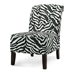 Lifestyle Solutions - Luna Accent Chair in Black and White - Fabric color: Black. Hardwood interior frame. Slipper style shape. Minor assembly required: Instructions and tools provided. Clean with damp cloth. 34.1 in. L x 31.5 in. W x 22.4 in. H (46 lbs)The LS Accent Chair line is an excellent transitional solution to adding fashion and elegance to any home. Easily coordinate the richly finished wood frames and shaped legs with other wood elements in the home while the assortment of fabrics provides an array of options. Crafted with a quality, sturdy hardwood interior construction and plush cushioning ensure that this chair will withstand the test of time.