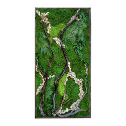 "Artisan Moss - ""The Woodlands"" Plant Painting- Large (care-free preserved green-wall art) - Our handcrafted ""plant paintings"" are zero maintenance green walls that are remarkably light-weight, utilizing all real preserved plants."
