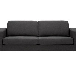 Hugo Sofa - Simple and classic, this affordable sofa is designed to go with virtually any look. Available in numerous leather and fabric options, it also comes with wood or nickel leg options.