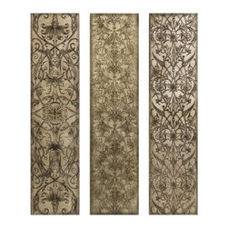 """IMAX CORPORATION - Filligree Pattern Black and White Wall Panels - Set of 3 - Old World Wood Wall panels with carved filigree pattern. Set of 3 in various sizes measuring around 49""""L x 7""""W x 14""""H each. Shop home furnishings, decor, and accessories from Posh Urban Furnishings. Beautiful, stylish furniture and decor that will brighten your home instantly. Shop modern, traditional, vintage, and world designs."""
