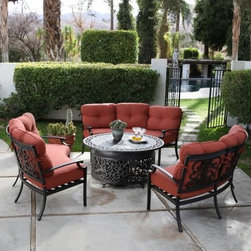 Belham Living Palazetto San Miguel Cast Aluminum Sofa Conversation Set with Fire - Relax alfresco with the comfort of your living room with the Palazetto San Miguel Cast Aluminum Sofa and Fire Pit Conversation Set- Seats 9. This elegant outdoor relaxation set is perfect for revitalizing any patio deck or outdoor space and creating a fun and relaxing place for friends and family to chat and spend quality time together. Constructed from durable cast aluminum materials the three half moon sofas feature a classic scrollwork design that winds across the back of their frame complimenting the chat table fire pit. Centralize the fire pit between these sofas for a conversation set that will keep chitchat effortless. The charming fire pit chat table comes complete with a propane gas conversion kit to suit any kind of fire and features a fire cover when not in use. The round table surface around the fire pit allows for kicking your feet up or resting drinks on while you're relaxing on the plush solution dyed olefin cushions. Additional Information: Sofa Dimensions: 72L x 38W x 34H inches Fire Pit Dimesions: 48L x 48W x 22H inches About Alfresco HomeOffering a wide selection of fashionable products from casual furniture and garden lighting to permanent botanicals and seasonal decor Alfresco Home casual living products offer a complete line of interior and exterior living furnishings and accents. Based out of King of Prussia Penn. Alfresco Home continues to blend indoor and outdoor furniture to make a lifestyle of alfresco living inside and outside of the home. Inlaid mosaic tabletops fine hardwood furnishings artisan-inspired accents premium silk botanicals and all-weather wicker sets are just a few examples of the kind of treasures you'll find in Alfresco's specially designed collections.