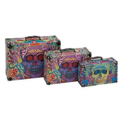 Benzara - Canvas Case with Distinctive Appearance - Set of 3 - Endow your home interiors with an interesting appeal with this Wood Canvas Case Set which features a chic contemporary design. The cases feature three different sizes which are suitable for holding all kinds of items, making them a functional addition to settings. Crafted to ensure a perfect blend of practicality and style, these cases have a more distinctive appearance that makes them an ideal choice if you are looking for something unique for your home. They are made from canvas and wood to ensure a sturdy and long lasting build. These cases are portable and feature intricate detailing and flaunt a multi color design that adds a striking touch to the appeal. This case set is a perfect gifting option for someone special in life.