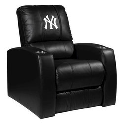Dreamseat Inc. - New York Yankees MLB Home Theater Leather Recliner - Check out this Awesome Leather Recliner. Quite simply, it's one of the coolest things we've ever seen. This is unbelievably comfortable - once you're in it, you won't want to get up. Features a zip-in-zip-out logo panel embroidered with 70,000 stitches. Converts from a solid color to custom-logo furniture in seconds - perfect for a shared or multi-purpose room. Root for several teams? Simply swap the panels out when the seasons change. This is a true statement piece that is perfect for your Man Cave, Game Room, basement or garage. It combines contemporary design with the ultimate comfort from a fully reclining frame with lumbar and full leg support.