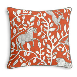Red Modern Animal Motif Corded Pillow - Black and white photos, Louis XIV chairs, crown molding: classic is always classy. So it is with this long-time decorator's favorite: the Corded Throw Pillow.  We love it in this sketched african animal & vine motif in modern rust red. be wild & wonderful!