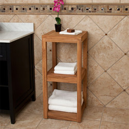 Three Tier Teak Towel Shelf - Both attractive and practical, the Three Tier Teak Wood Towel Shelf is perfect for organizing toiletries and storing bath towels. This teak bathroom shelf can be stained, if desired, or left natural.