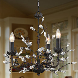 None - Iron and Crystal 3-light Chandelier - This elegant chandelier makes quite a statement. Use this fixture in spaces throughout the home. It is designed with a three-light display. With its ironwood display, this light accents furnishing styles. This modern fixture works with similar decor.