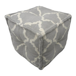 "Jaipur Rugs - Gray/Ivory Handmade 100% Cotton Pouf (16""x16""x16"") - The Cadiz collection is a modern collection of square poufs hand woven from 100% cotton. The  casual pouf collection uses strong simple geometrics in bold colors and can be easily  coordinated with the Jaipur Urban Bungalow and Maroc flat weave rug collection."