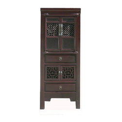 Golden Lotus - Chinese Antique Kitchen Storage Cabinet - This is a Chinese antique kitchen cabinet which is made of solid elm wood.  It was used to put dishes, bowls and kitchen items long time ago in China.  Right now, it can be also used as storage cabinet.